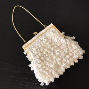 Vintage White Iridescent Beaded Evening Bag/Clutch